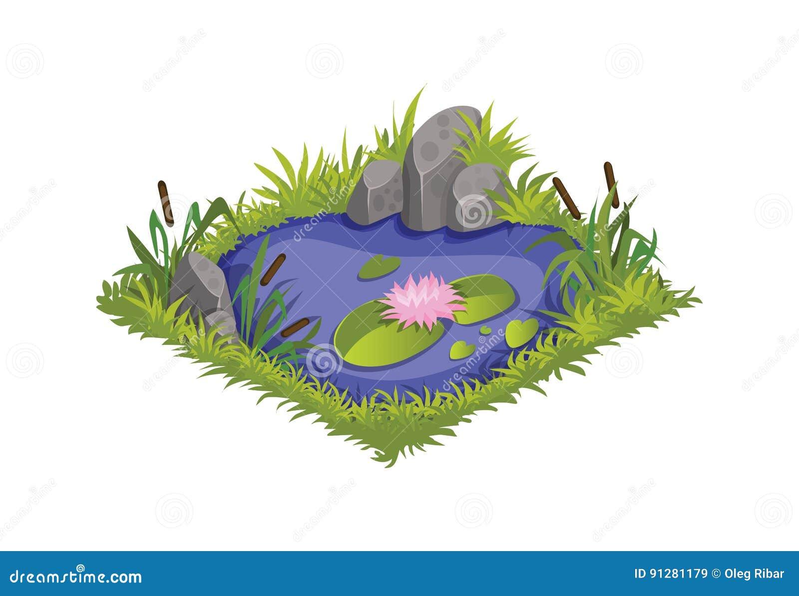 Isometriskt tecknad filmvattendamm med lösa vasser och liljor - beståndsdelar för den Tileset översikten, landskapdesign