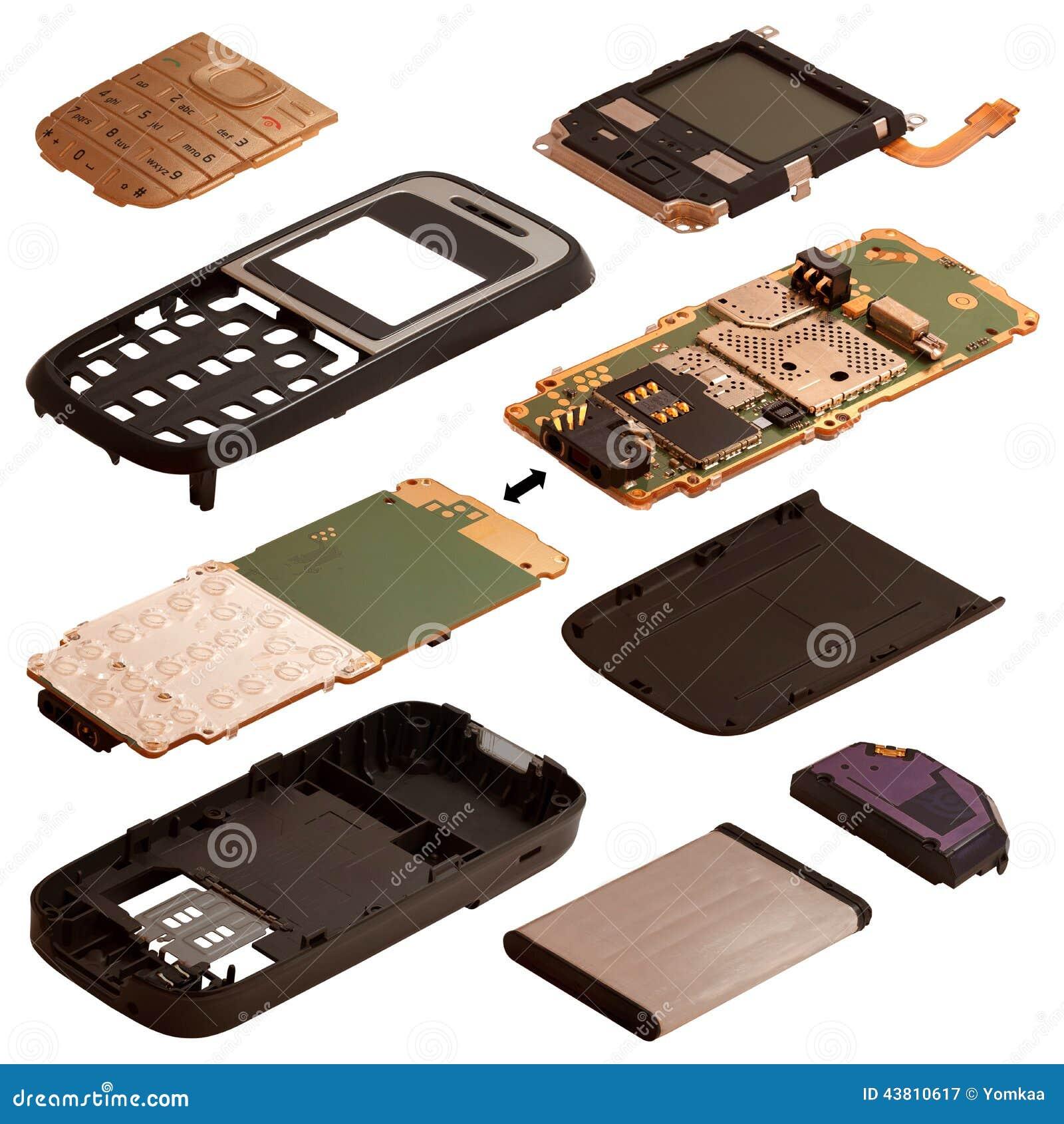 Isometry Demontujący telefon komórkowy odizolowywający na białym plecy