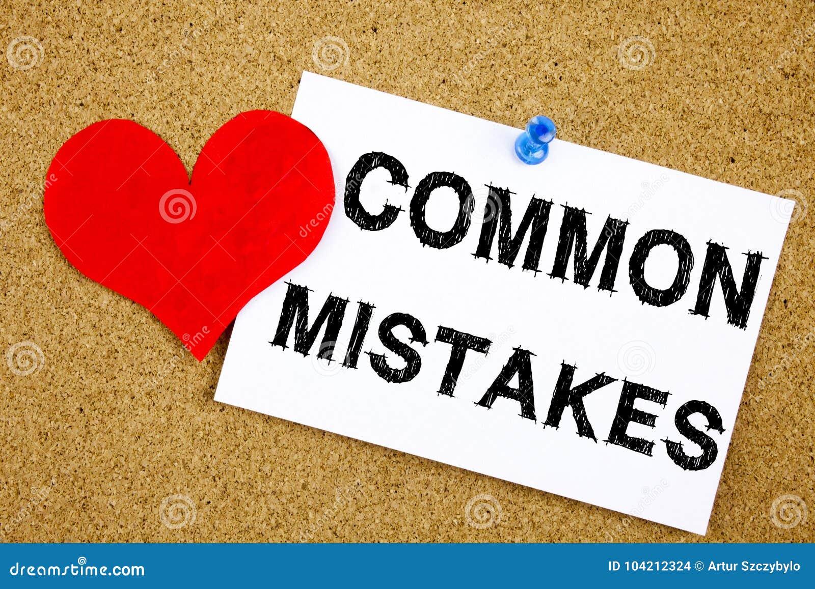 Ispirazione concettuale di titolo del testo di scrittura della mano che mostra concetto di errori comuni per gli errori comuni di