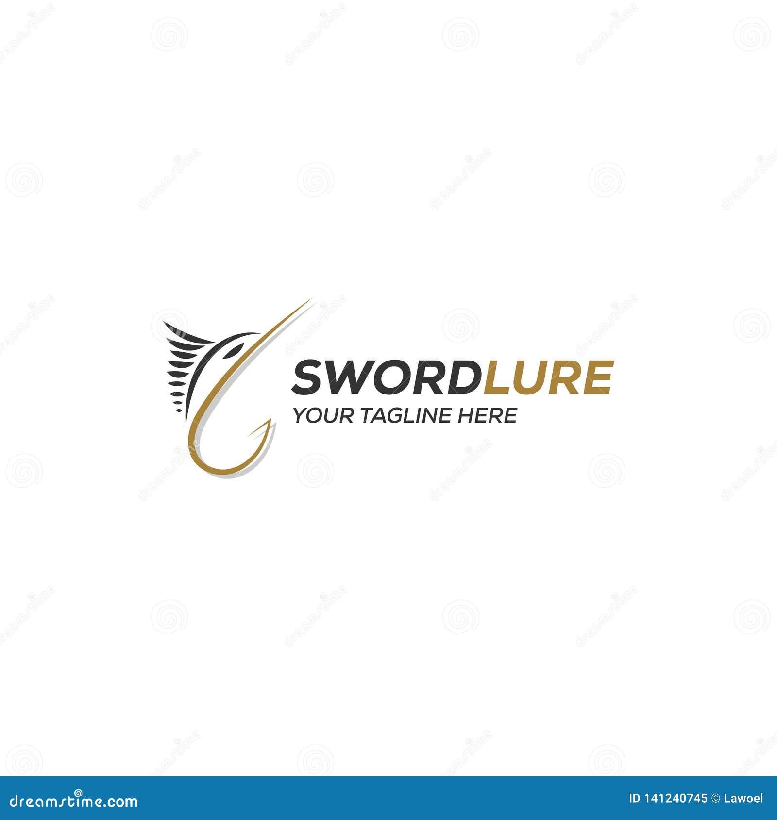 Ispirazione di progettazione di logo dell amo di richiamo dell esca