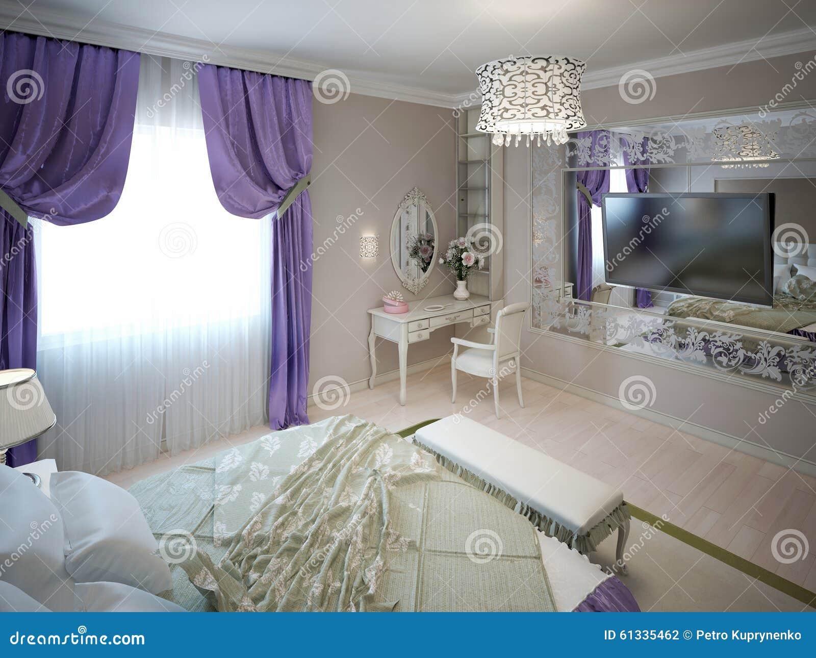 Camere Da Letto Art Deco : Ispirazione per la camera da letto di art deco illustrazione di