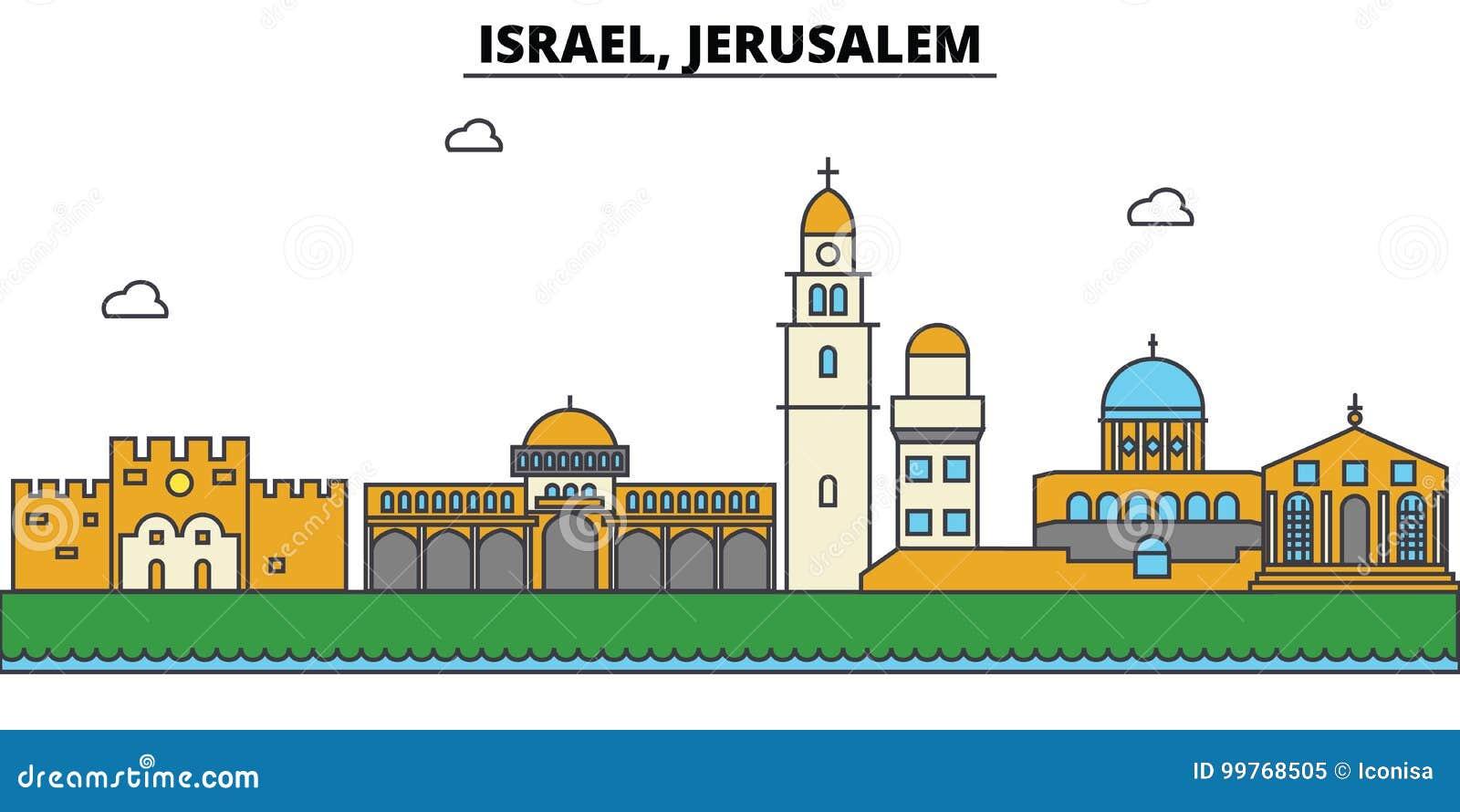 Israël, Jeruzalem De architectuur van de stadshorizon editable
