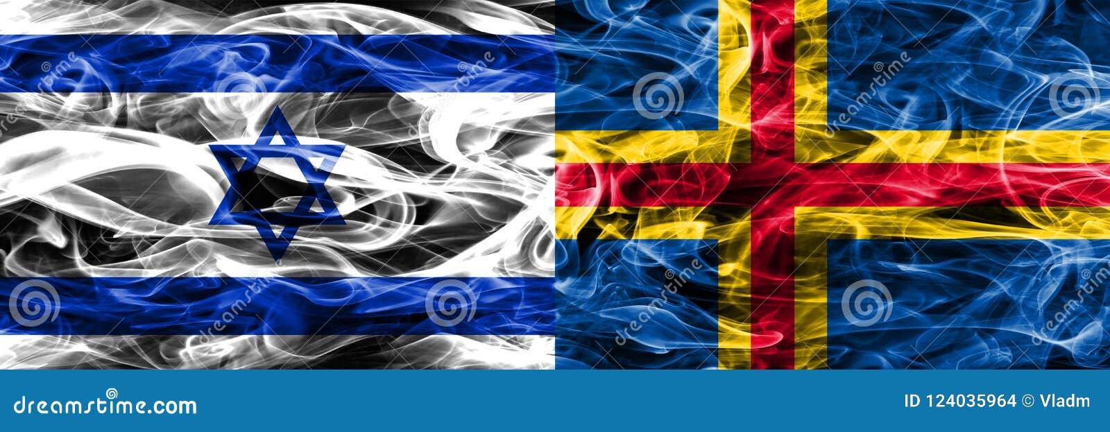 Israël versus Aland-zij aan zij geplaatste rookvlaggen Israëlisch en Ala