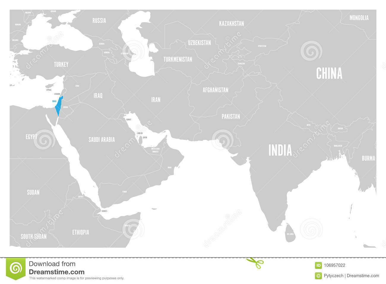 Israel Blue Marked In Political Map Of South Asia And Middle East ...