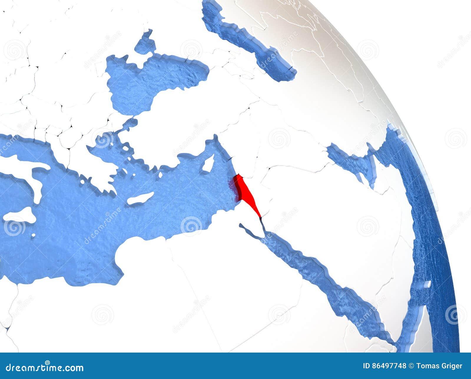 Israel on elegant globe stock illustration illustration of render israel highlighted in red on elegant silver globe with blue watery oceans 3d illustration gumiabroncs Images