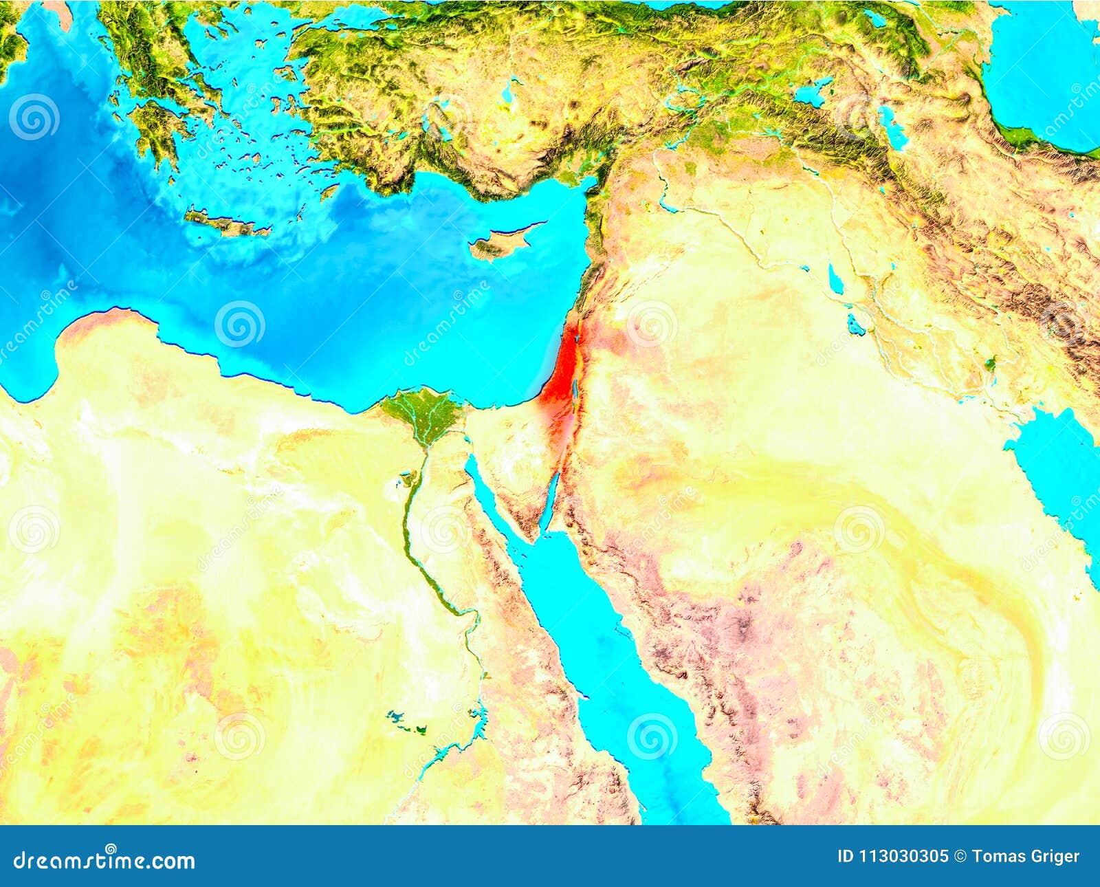 Israel en rojo en la tierra