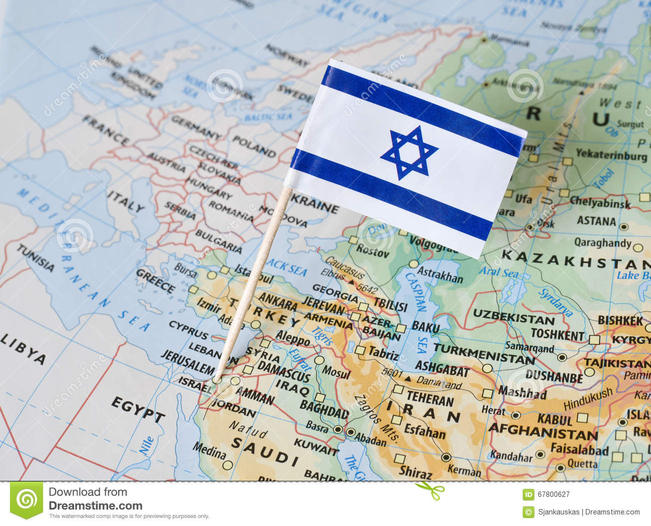 Israel flag pin on map stock image. Image of destination - 67800627