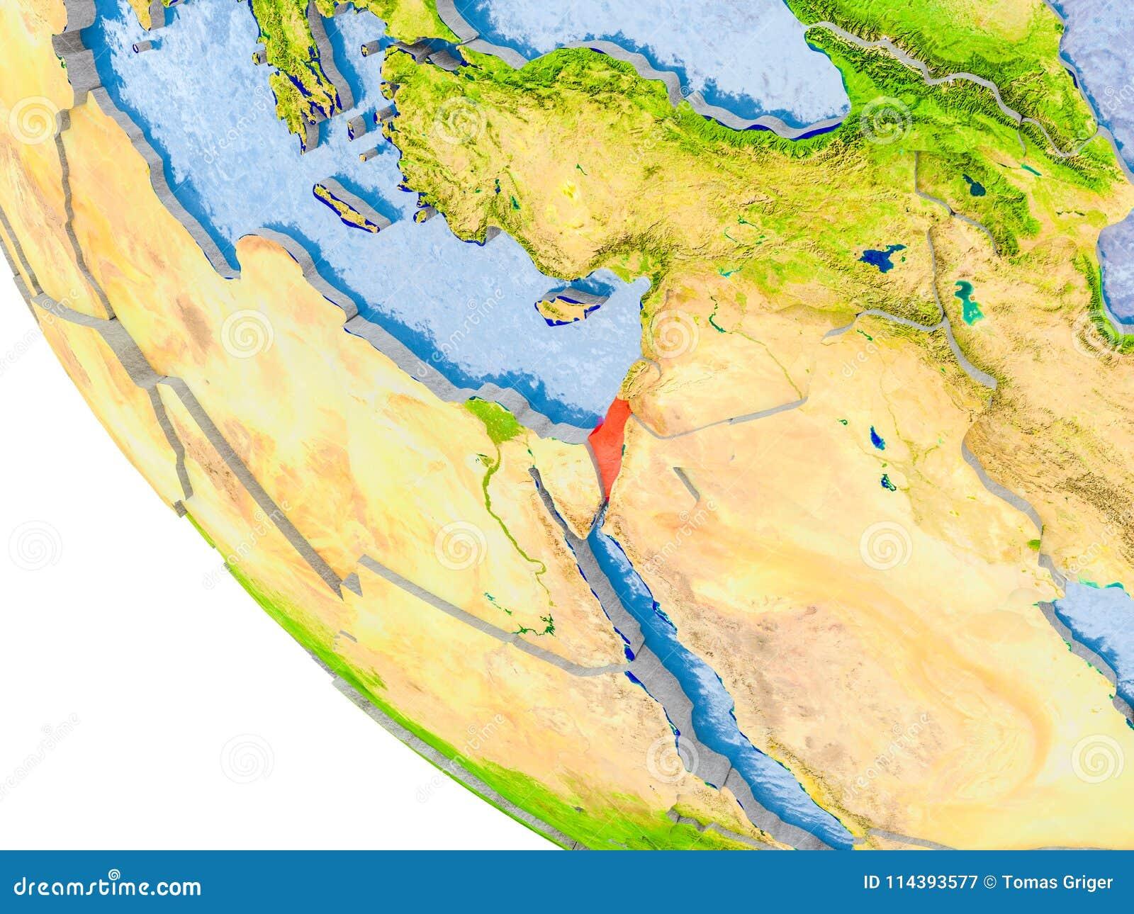 Israel on globe stock illustration. Illustration of asia - 114393577