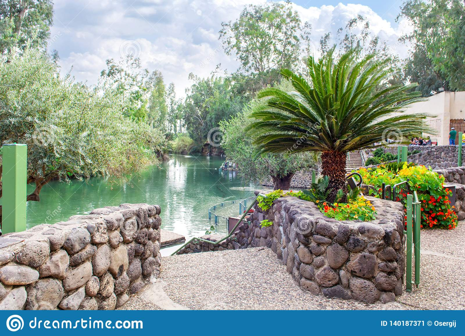 Israel, the Jordan River - December 5, 2016: according to the Gospel, Jesus Christ was baptized in the waters of the holy river