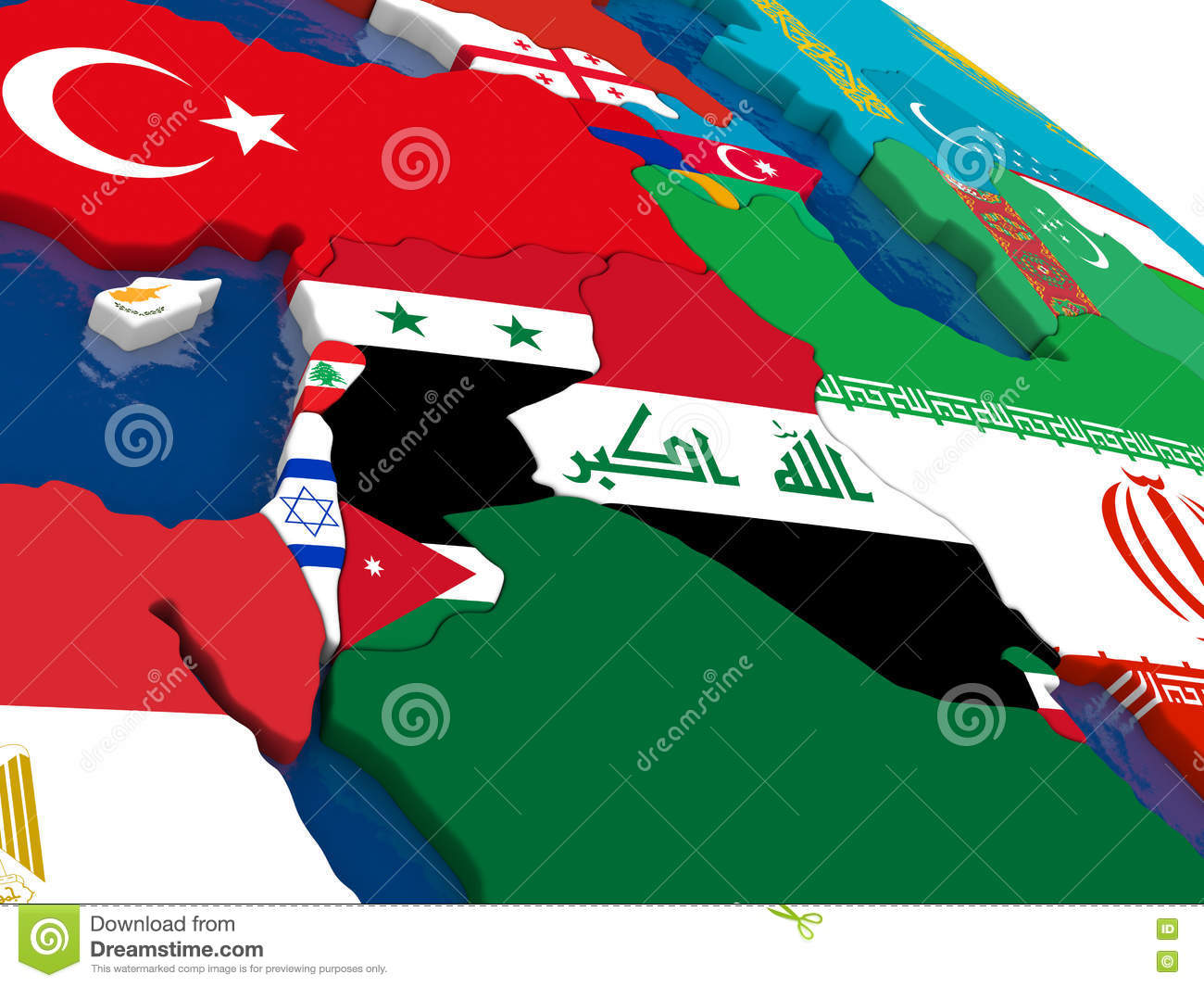 Israel, Lebanon, Jordan, Syria And Iraq Region On 3D Map With Fl ...
