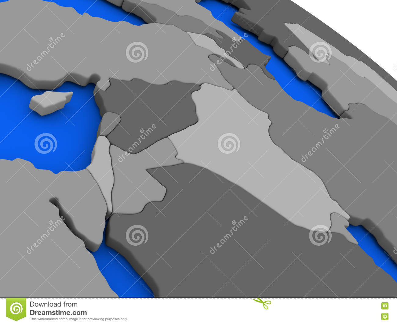 Israel lebanon jordan syria and iraq region on political eart map of israel lebanon jordan syria and iraq region on 3d model of earth with countries in various shades of grey and blue oceans 3d illustration gumiabroncs Image collections