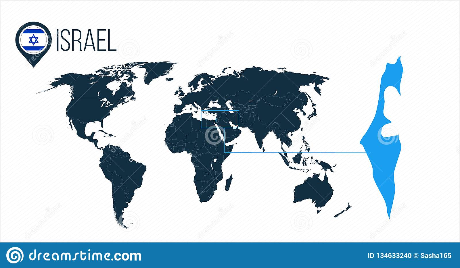 Israel Location On The World Map For Infographics All World