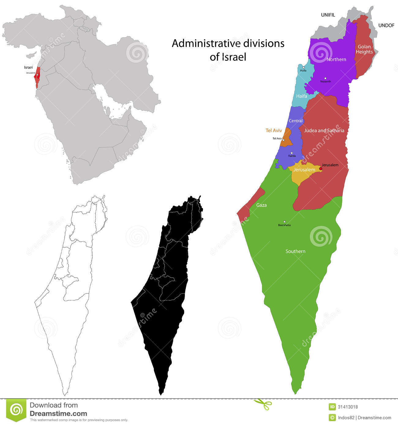 Marvelous Israel Map. Administrative Division Of The State Of Israel Royalty Free  Illustration