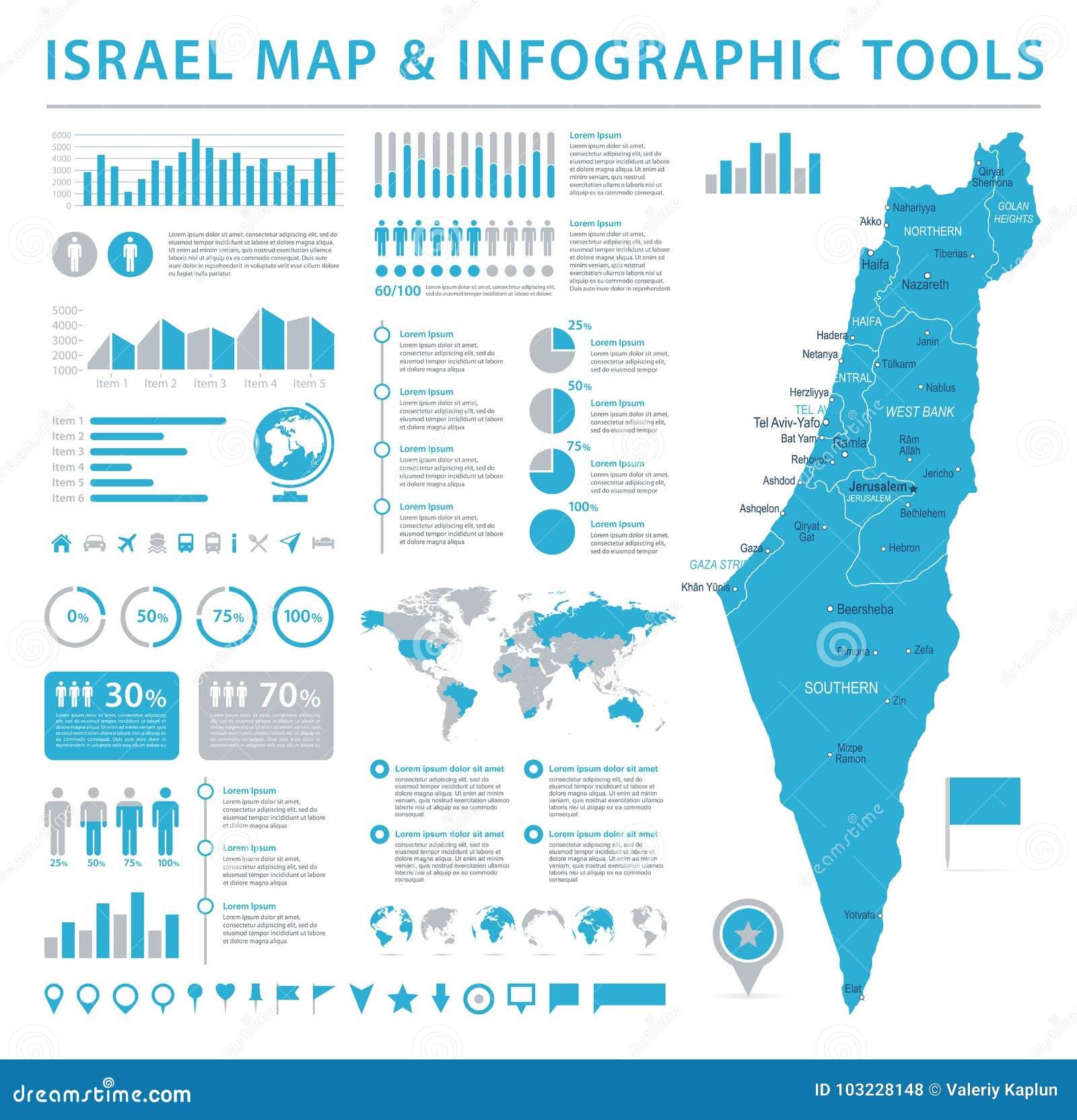 Map Of Asia Israel.Israel Map Info Graphic Vector Illustration Stock Illustration