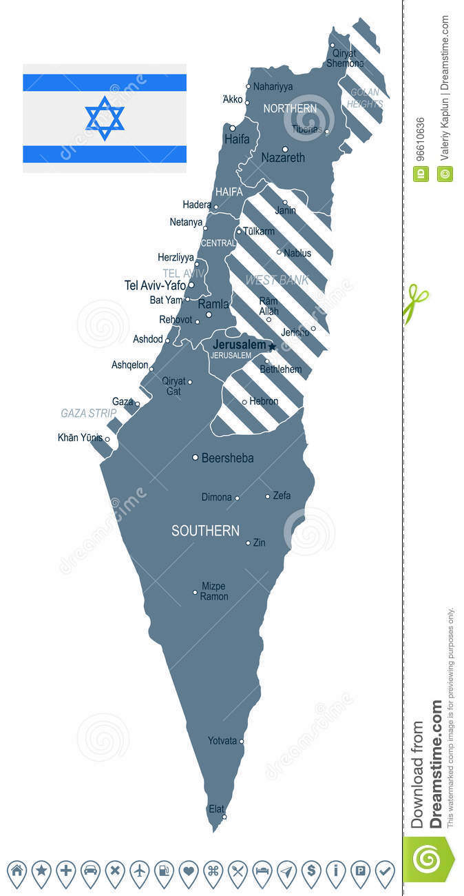 Israel - Map And Flag Illustration Stock Illustration - Illustration ...