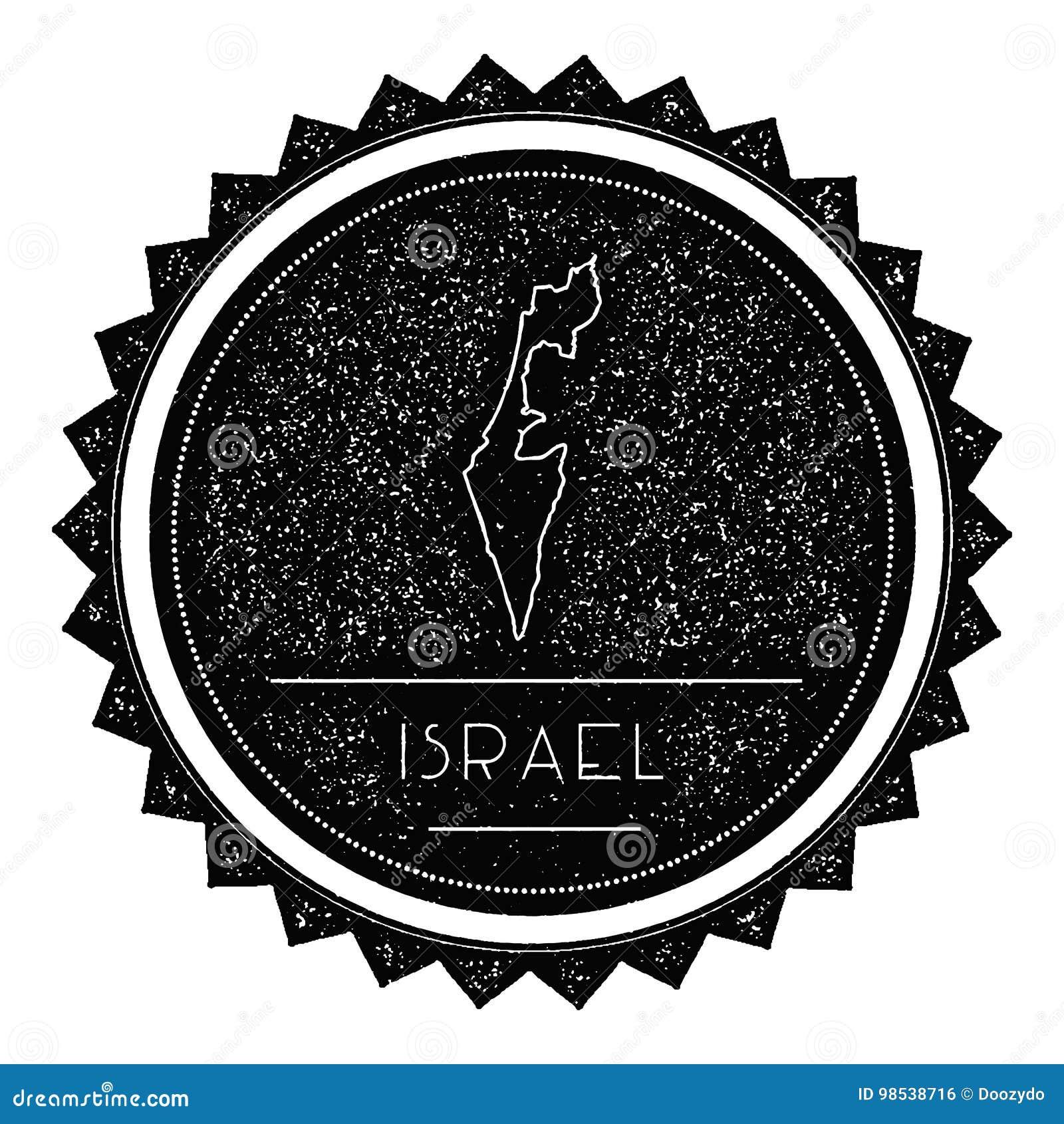 Israel Map Label com vintage retro projeto denominado