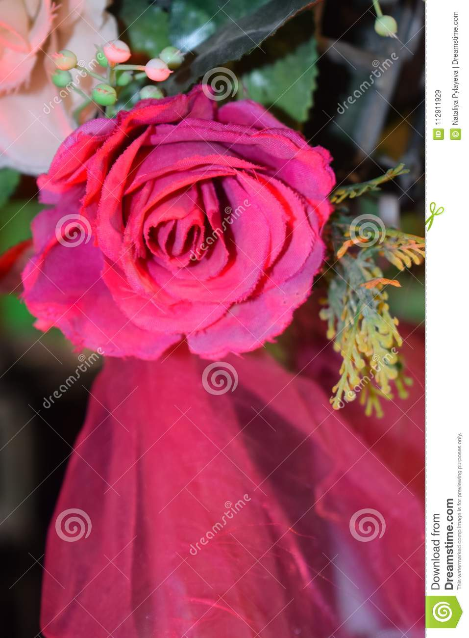 Decorative Artificial Pink Flower Rose - Decoration On The Wedding ...