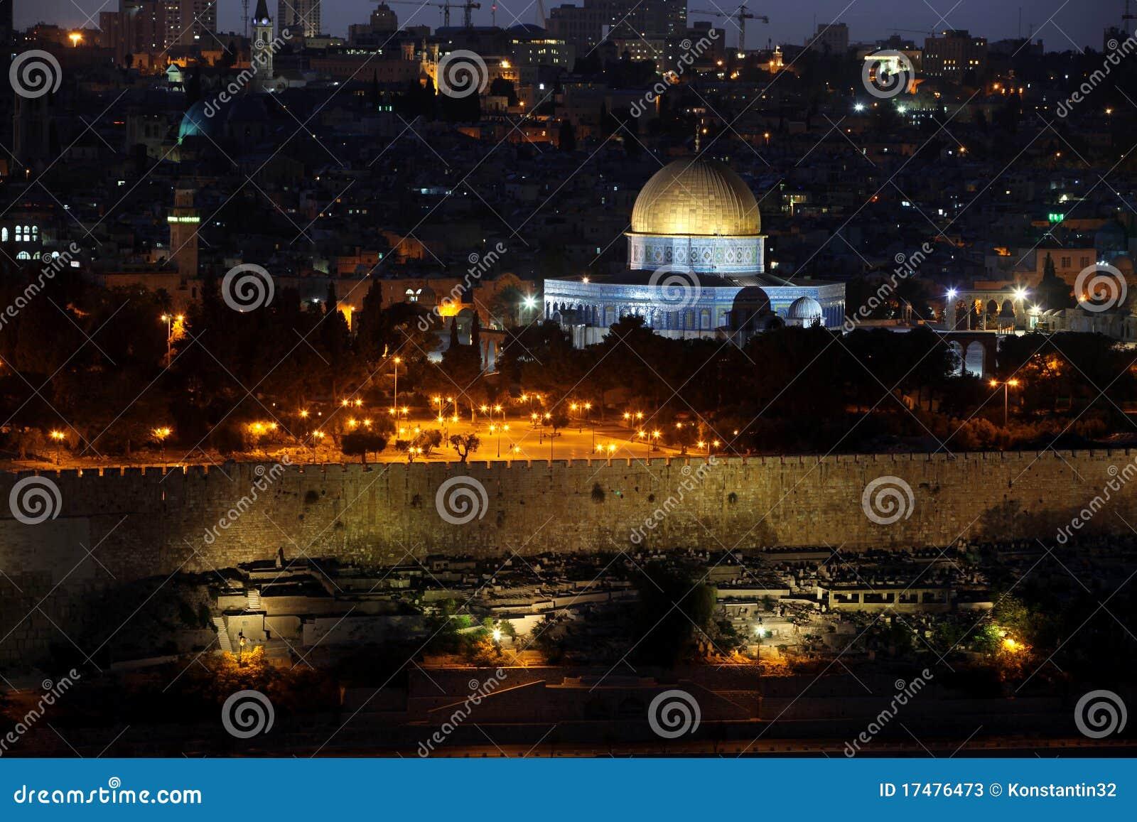 Israel, Nacht in der Tempel-Montierung und in der Haube des Felsens