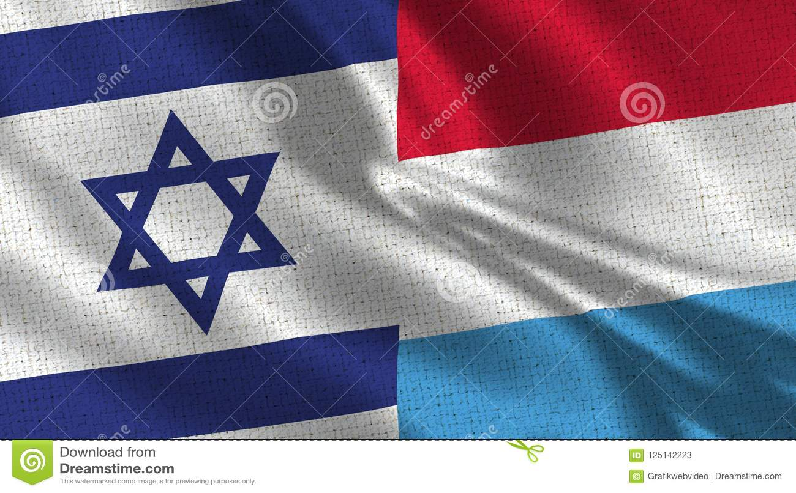 Israel och Luxembourg flagga - två flaggor tillsammans