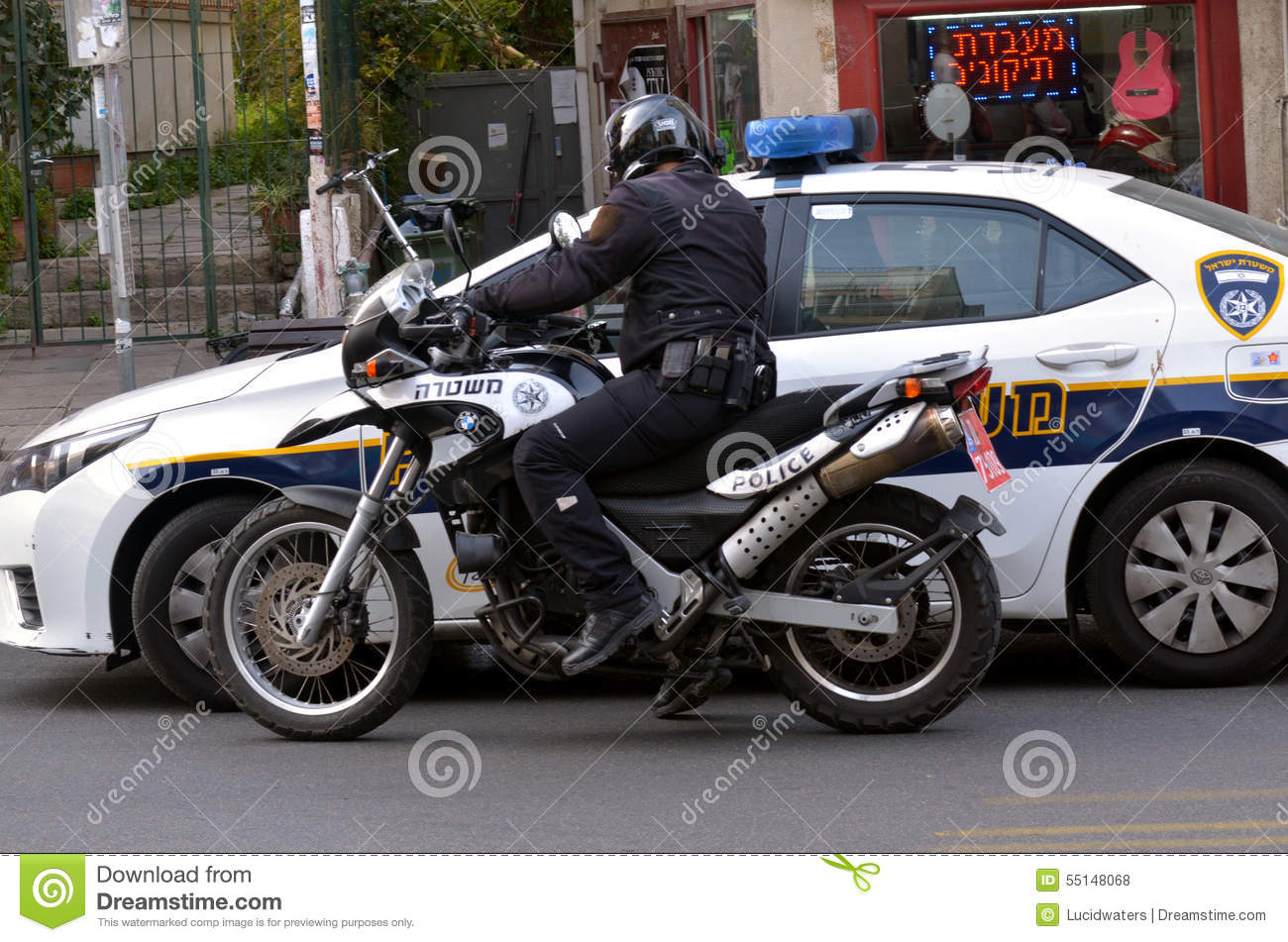 Israel Police officer on a motorbike