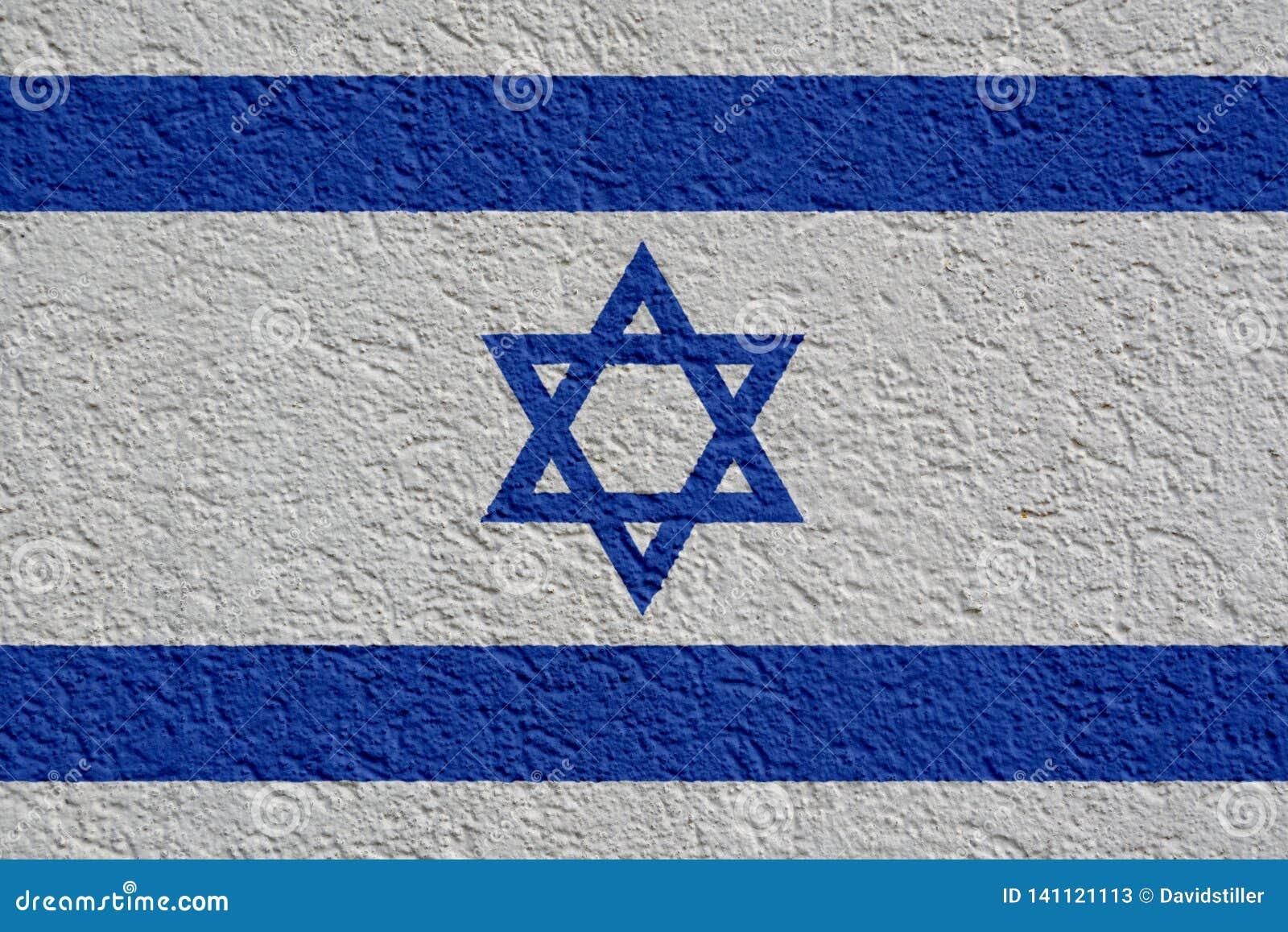 Israel Politics Or Business Concept : Mur israélien de drapeau avec le plâtre, texture