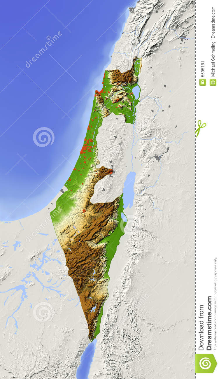 Israel Shaded Relief Map Stock Illustration Illustration Of