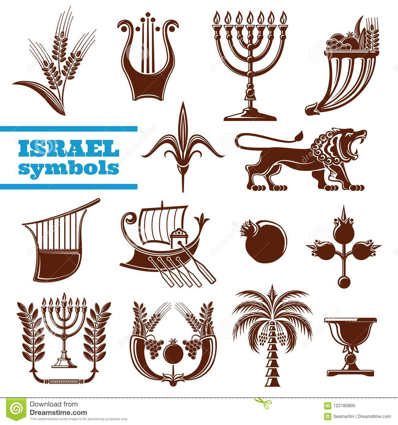 Israel Culture History Judaism Religion Symbols Stock Vector