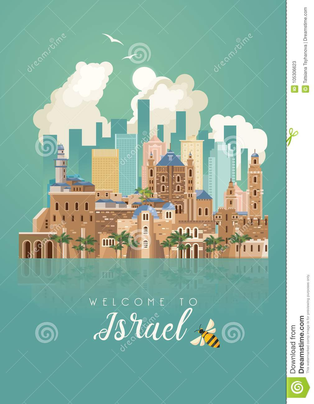 Israel Vector Banner With Jewish Landmarks With Mirror Effect On