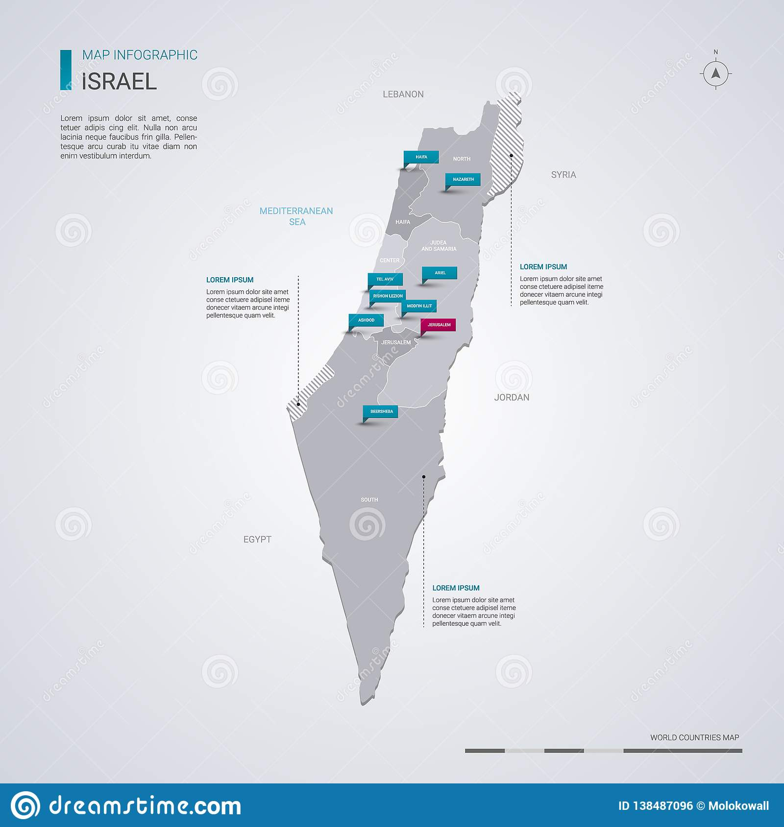 Israel Vector Map With Infographic Elements, Pointer Marks ...