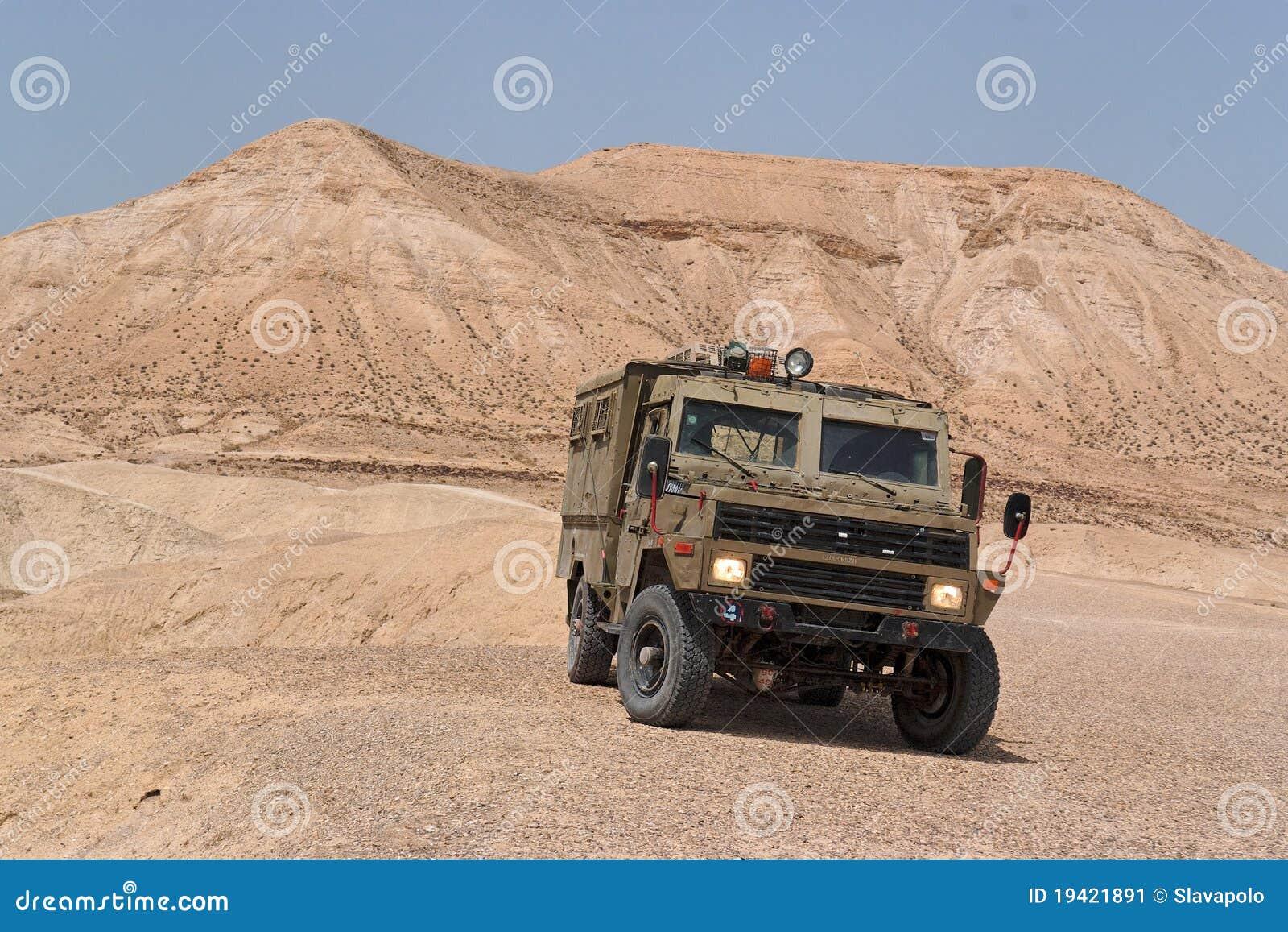 Israeli army Humvee on patrol in the Judean desert