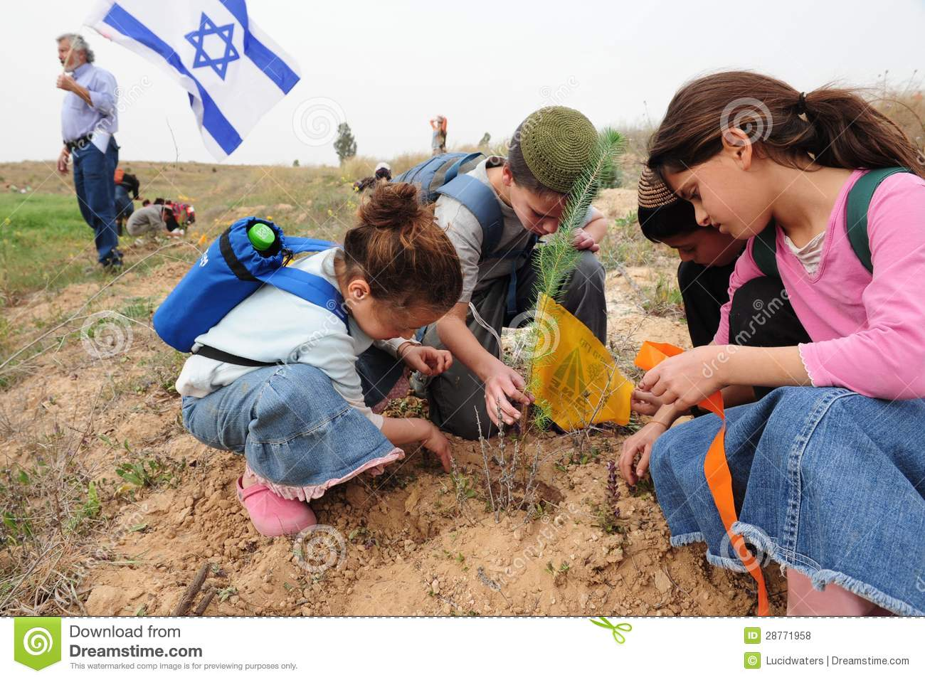 Israeli Children Celebrating Tu Bishvat Jewish Holiday