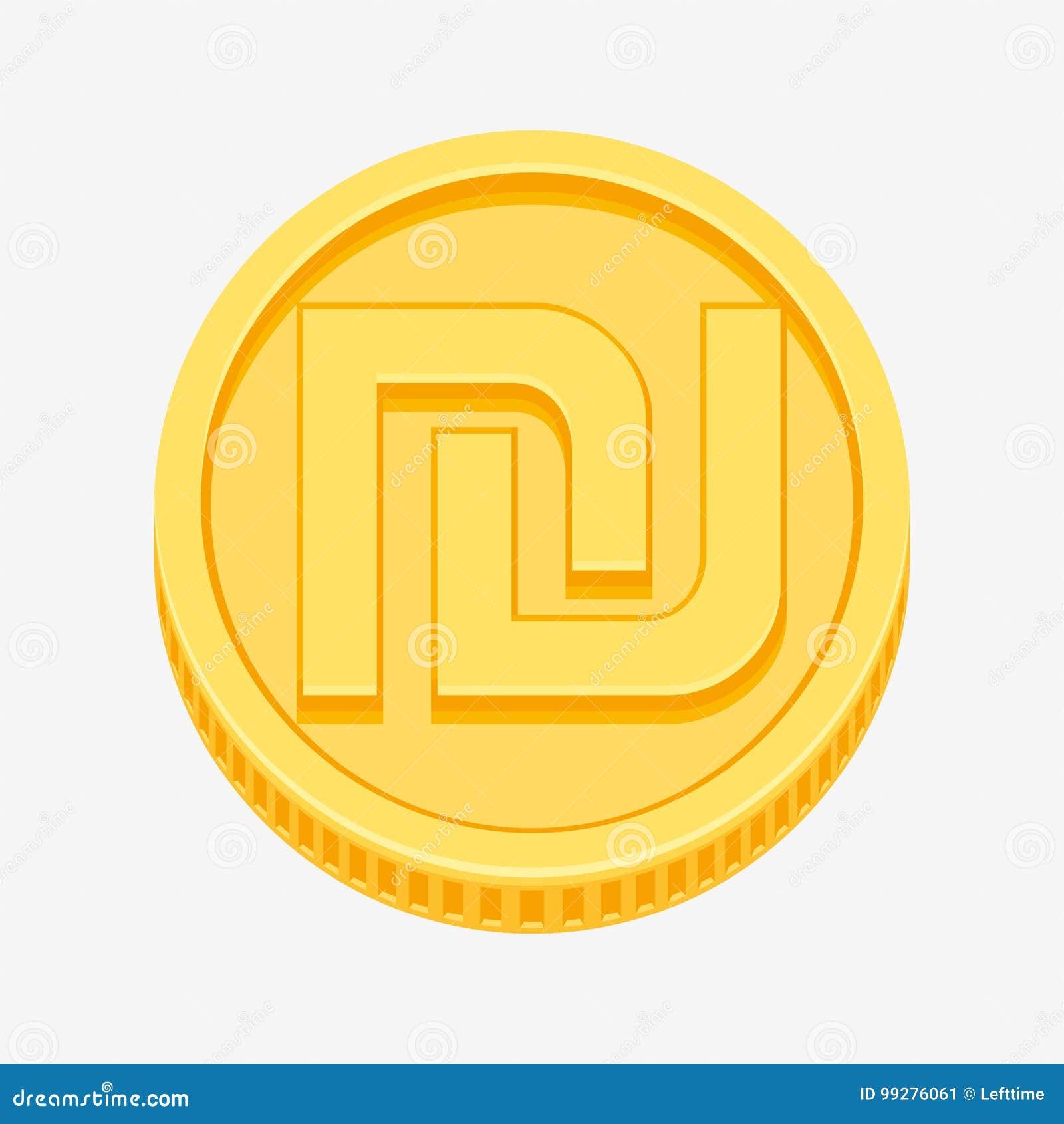 Israeli Shekel Symbol On Gold Coin Stock Vector Illustration Of
