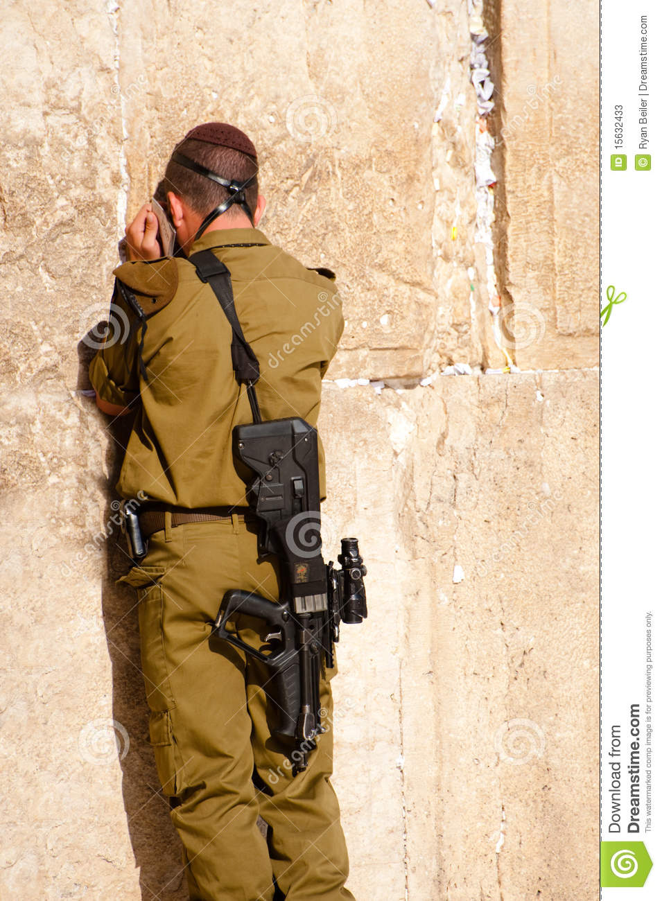 Israeli Soldier At Western Wall Editorial Stock Photo