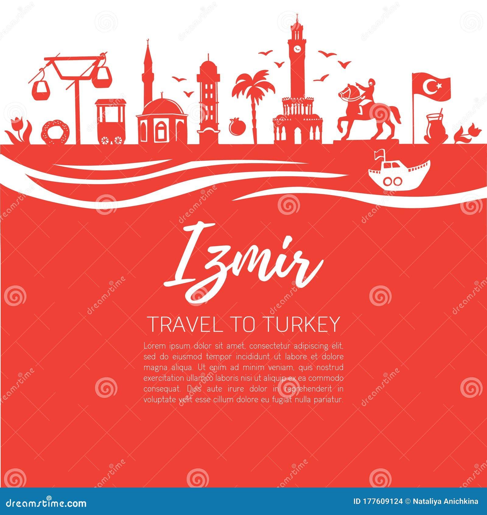Izmir Travel To Turkey Modern Flat Vector Illustration Of Famous Turkish Landmarks Stock Vector Illustration Of Elevator Black 177609124
