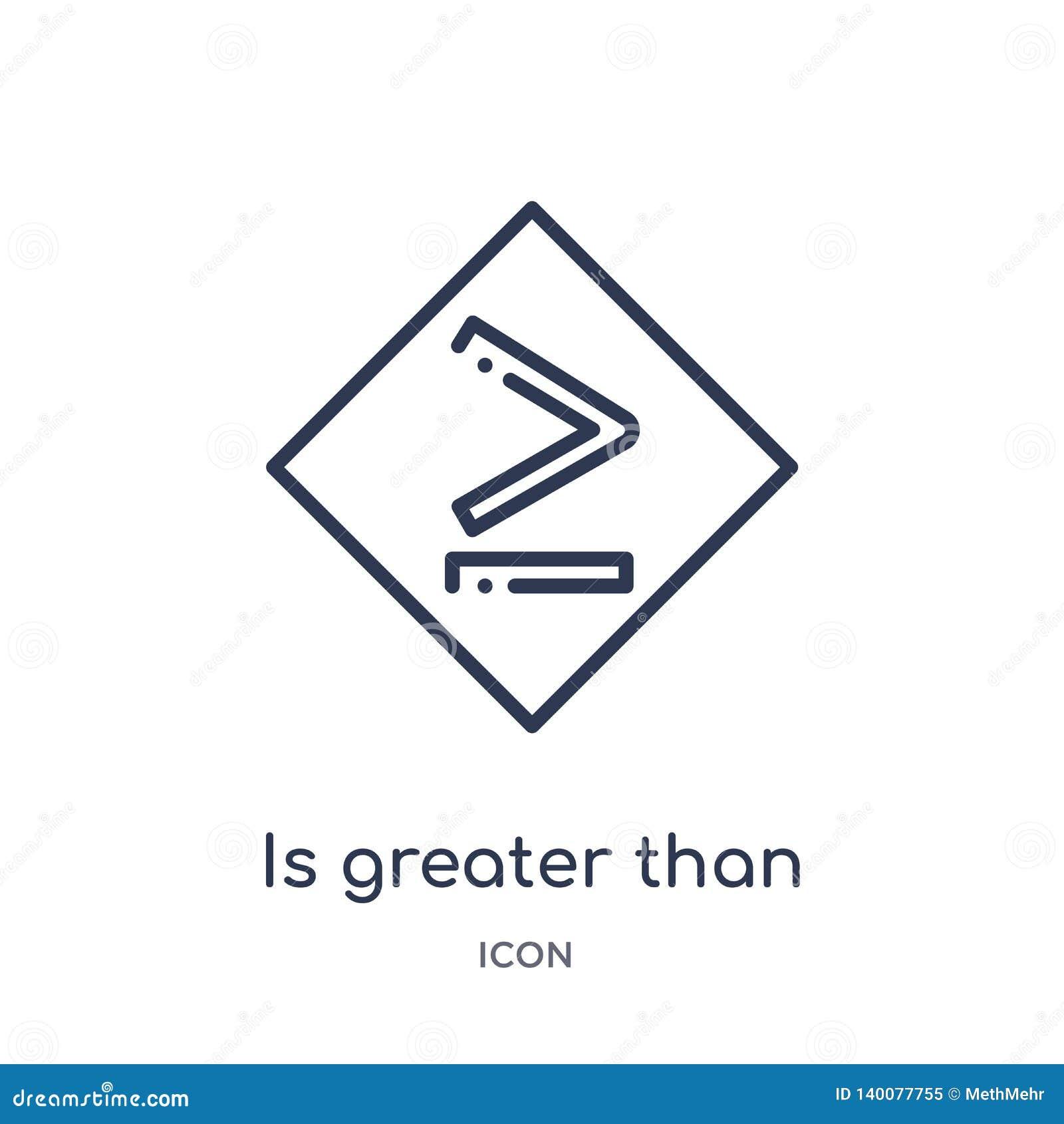Ist größer als oder Ikone von der Zeichenentwurfssammlung gleich Dünne Linie ist größer als oder Gleichgestelltes zur Ikone, die