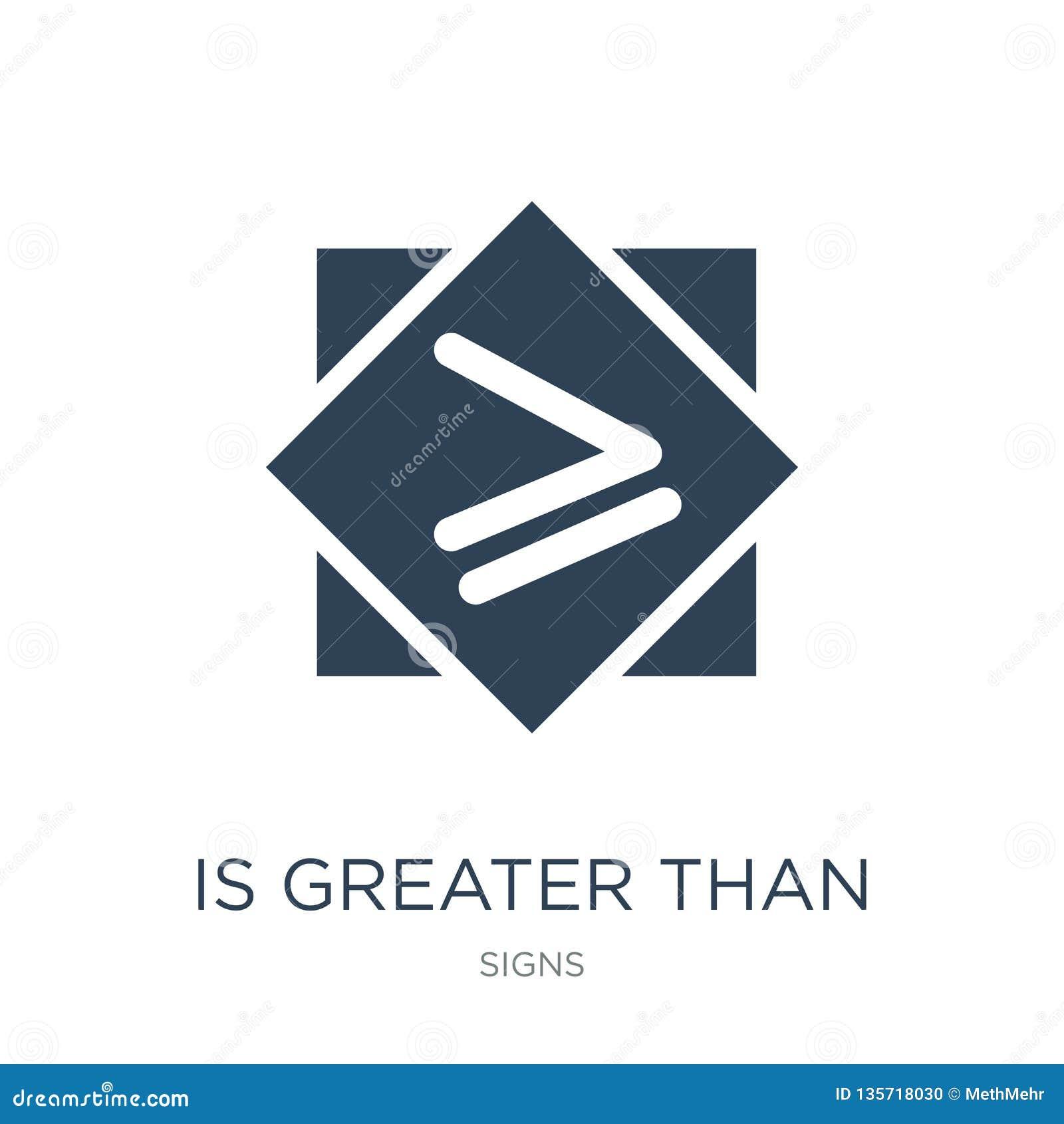Ist größer als oder Ikone in der modischen Entwurfsart gleich ist größer als oder Gleichgestelltes zur Ikone, die auf weißem Hint