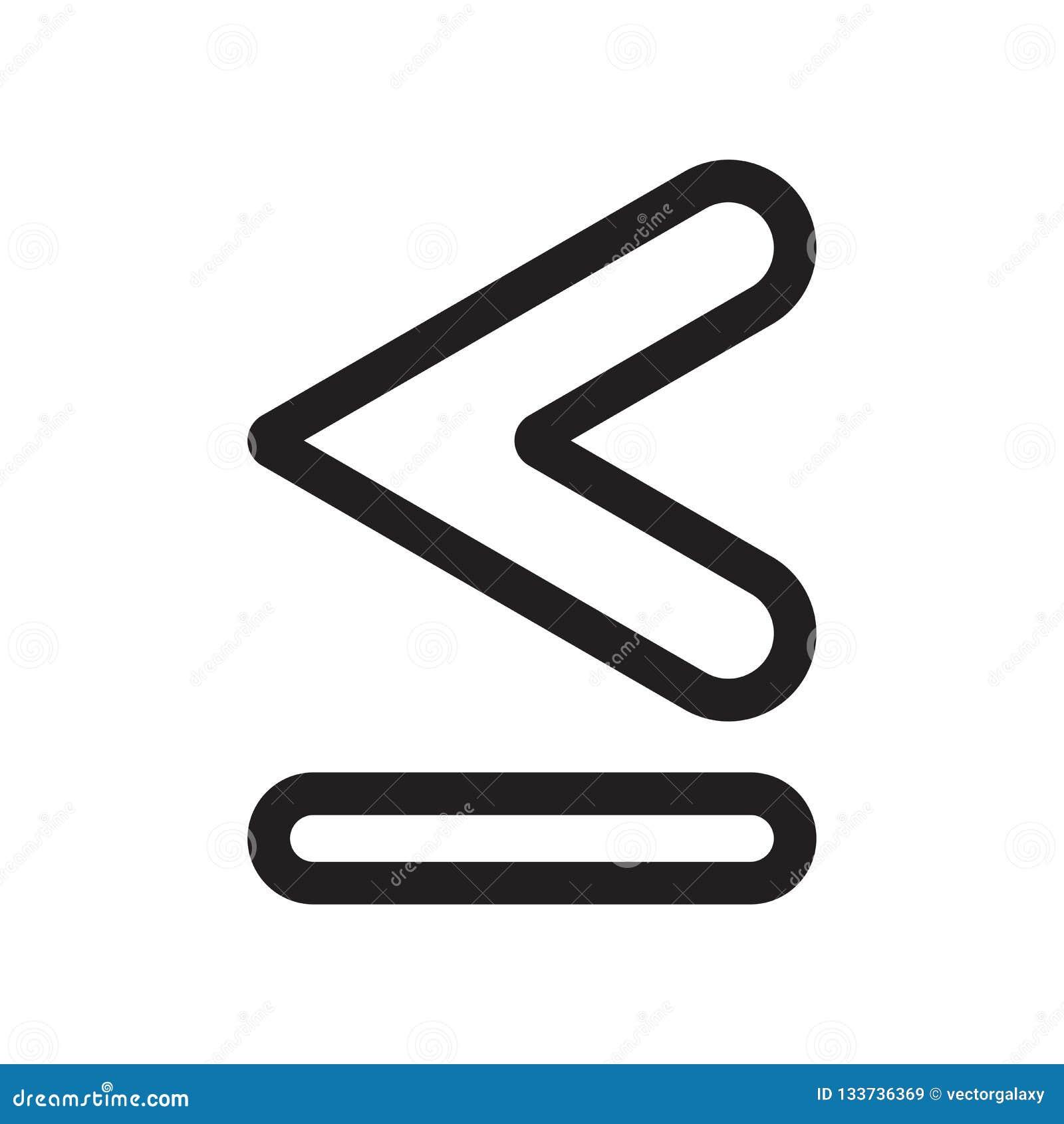 Ist weniger, als oder gleich dem Symbolikonenvektorzeichen und -symbol, die auf weißem Hintergrund lokalisiert werden, weniger al