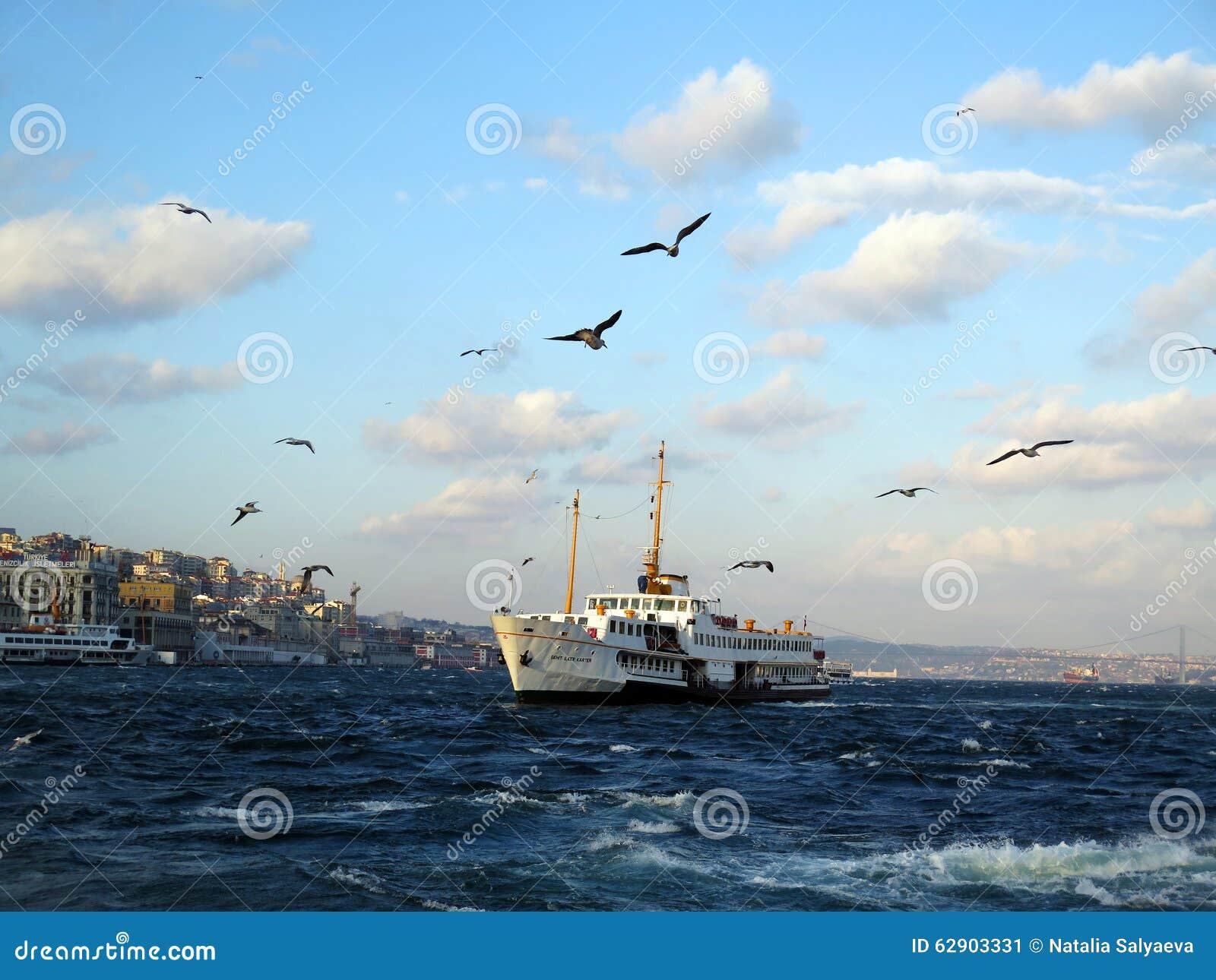 Istambul Bosfor widok z białym statkiem