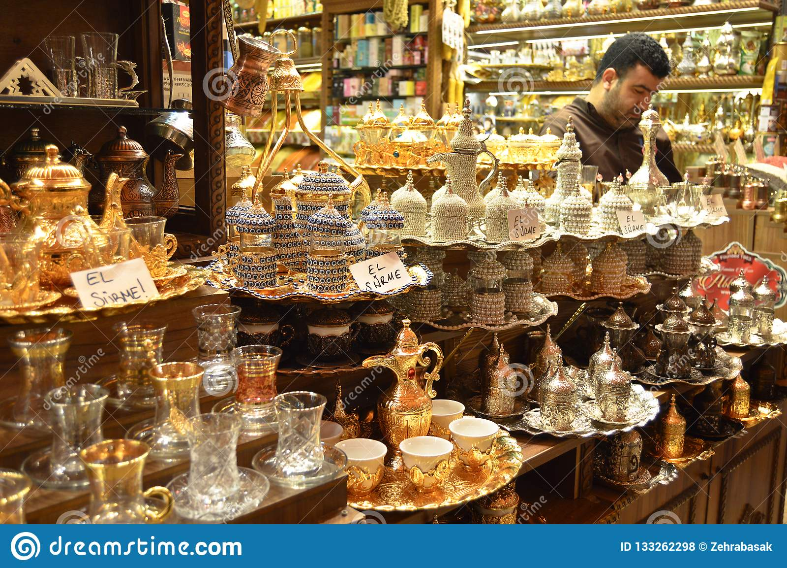Istanbuł misir Indyczy carsisi, turecka kawa i herbaciani sety,