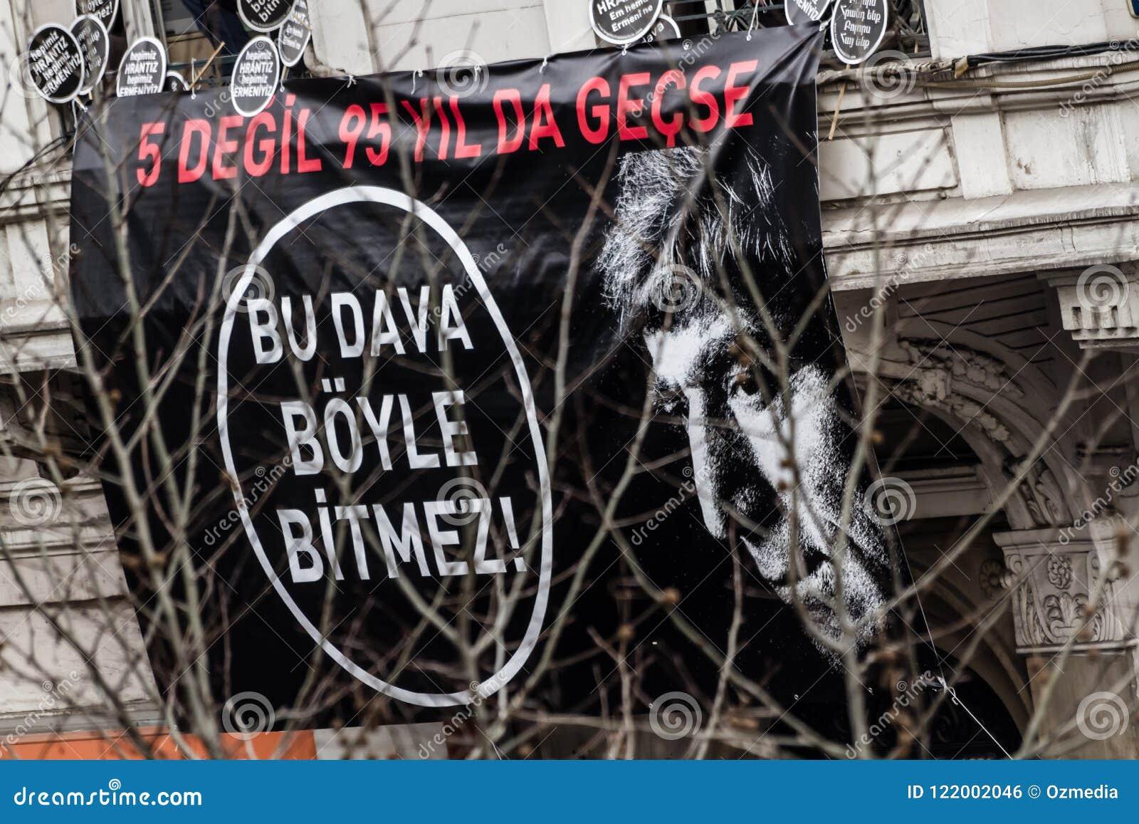 ISTANBUŁ TURCJA, JAN, - 19, 2012: Śmiertelna rocznica Hrant Dink