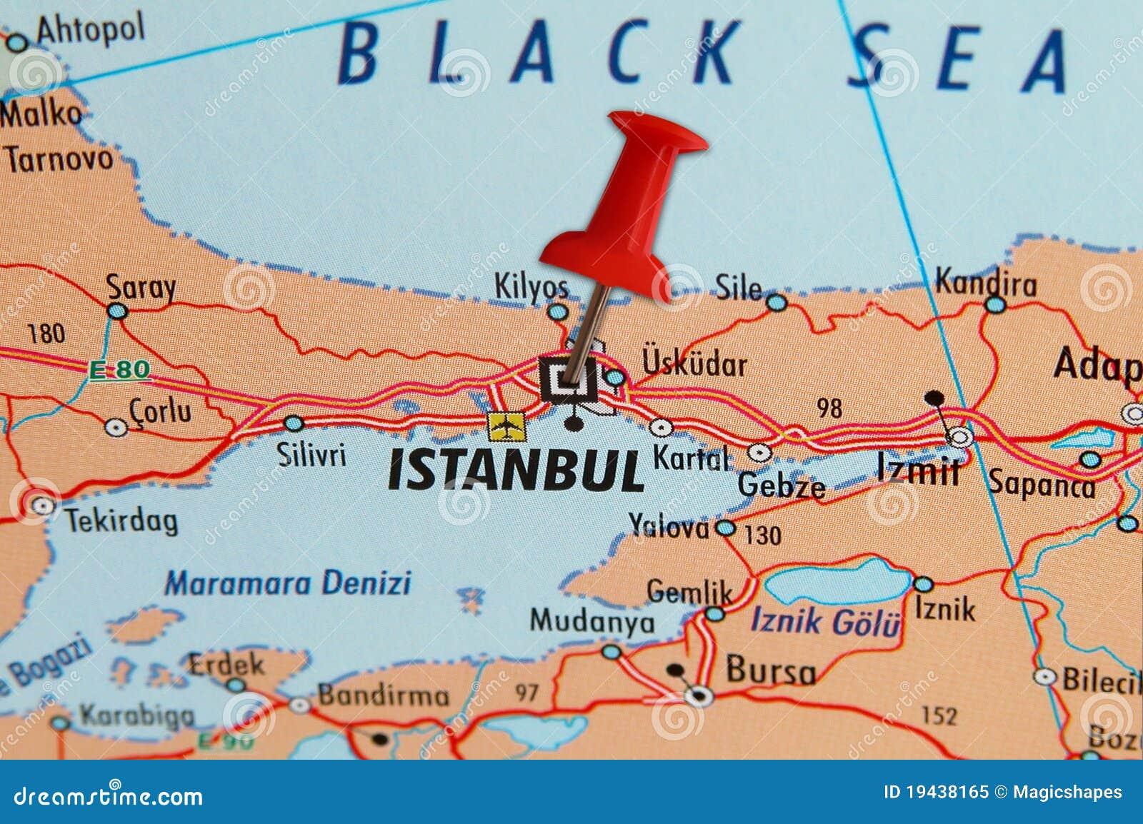 Istanbul Auf Einer Karte Stockbild Bild Von Karte Seite 19438165