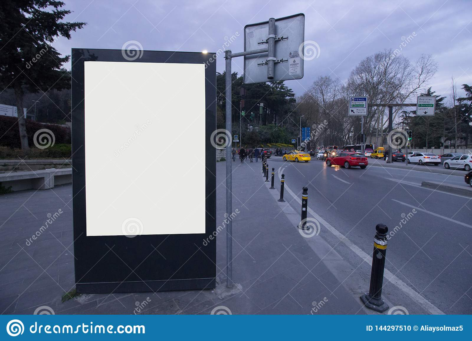Istanbul Blank Billboards Evening Time, Bus Station - Outdoor Billboard for Advertisement