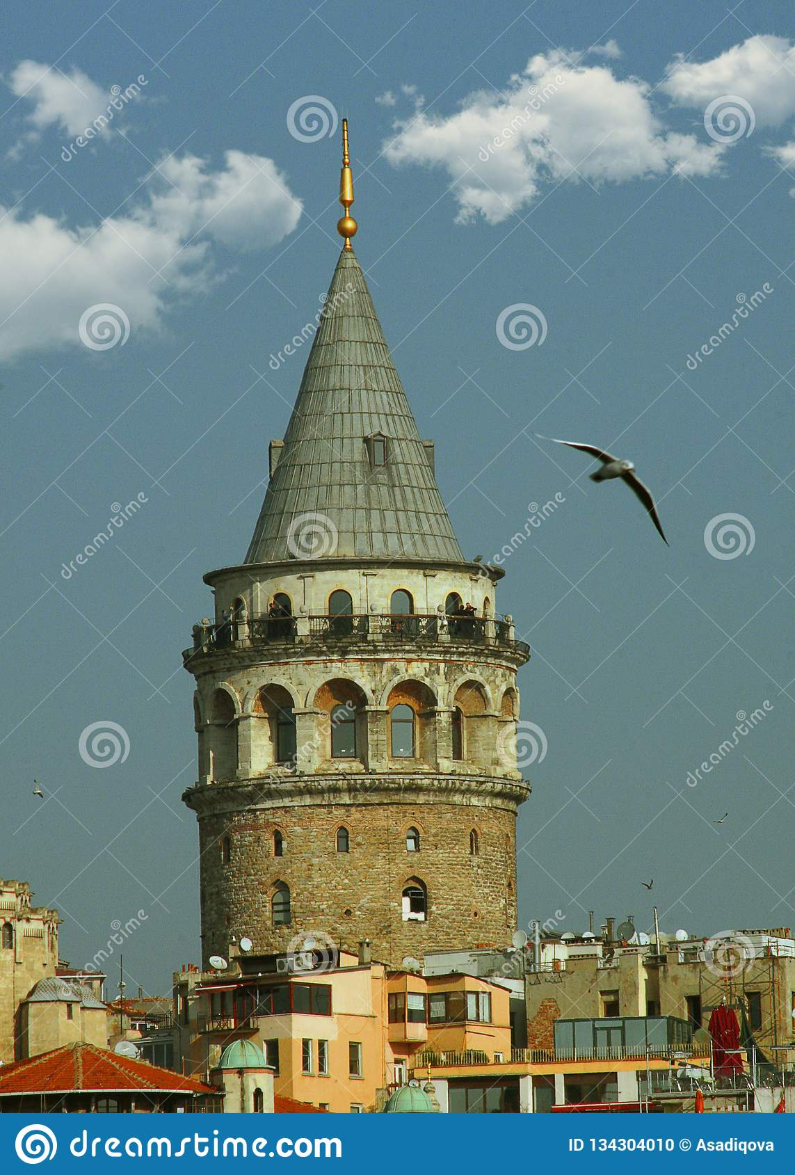 Istanbul city skyline in Turkey, Beyoglu district old houses with Galata tower on top, view from the Golden Horn. - Image