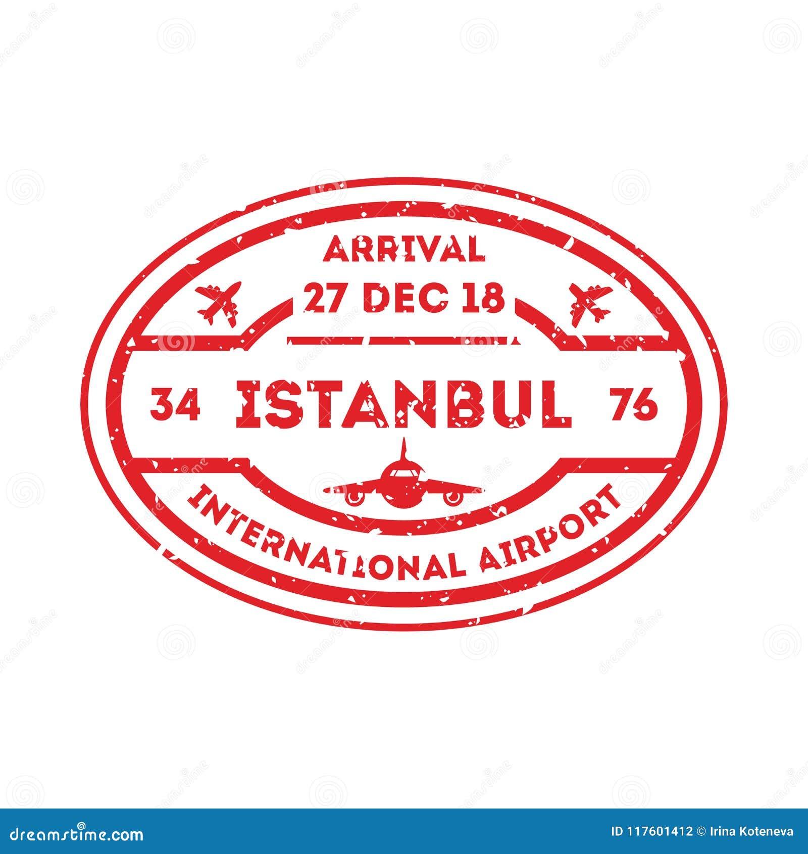 Istanbul City Visa Stamp On Passport Stock Vector Illustration Of