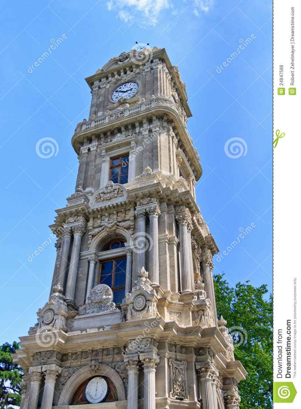 Istanbul Clock Tower Near Dolmabahce Palace Royalty Free ...