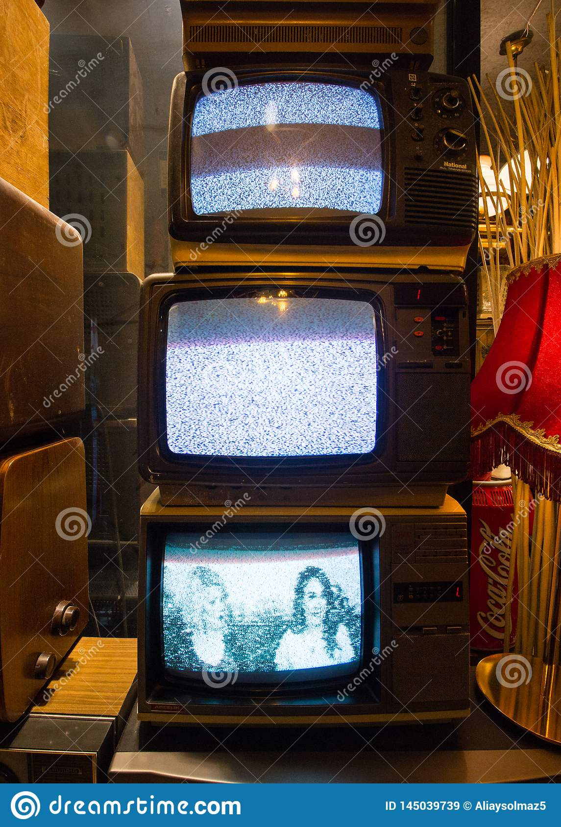 Istanbul, Istiklal Street / Turkey 16.4.2019: Old Classic Retro Televisions, Antique Collections