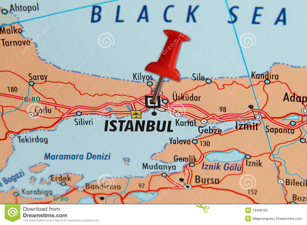 Istanbul On A Map Royalty Free Stock Photo - Image: 19438165