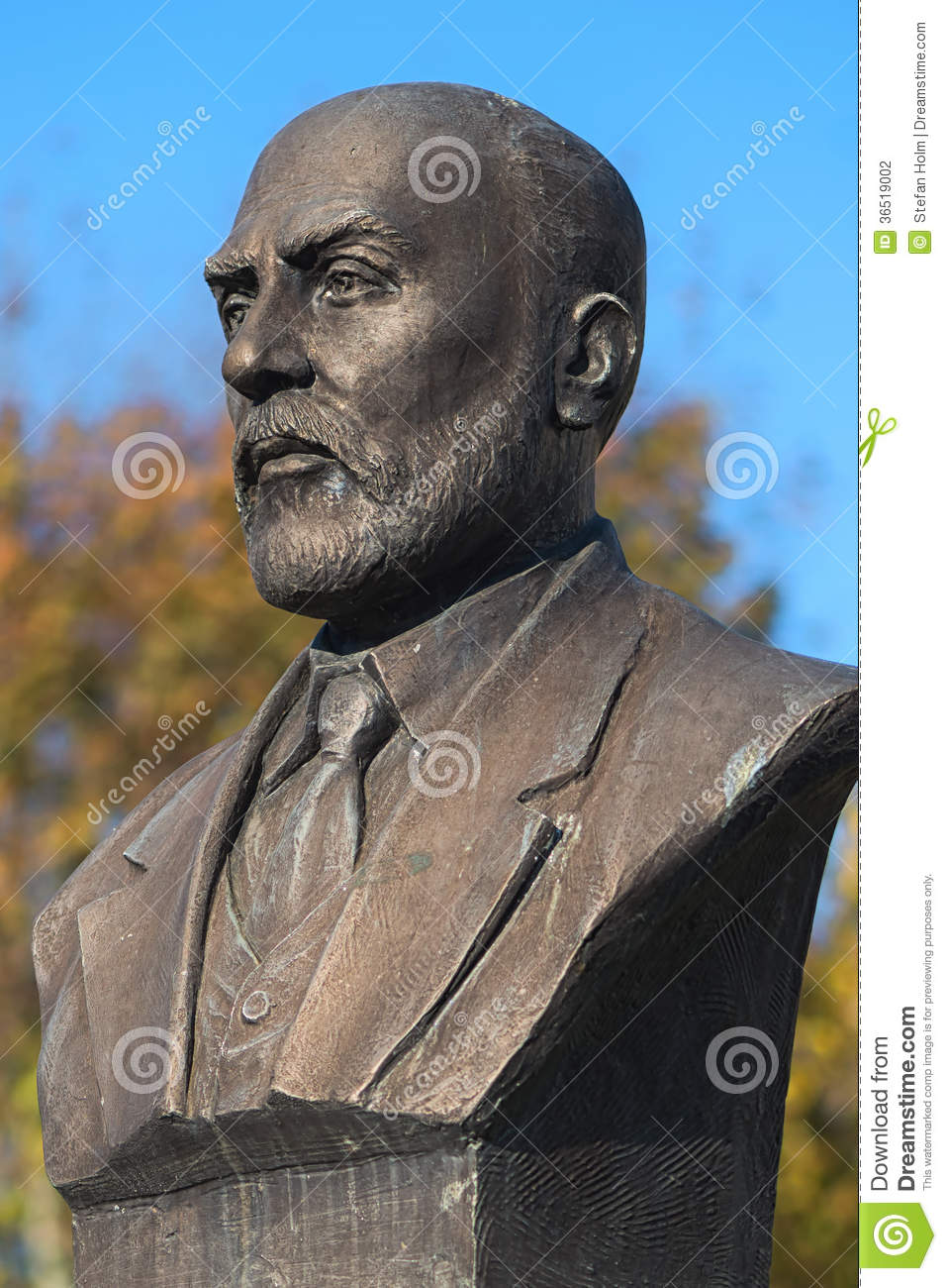 ISTANBUL - NOV, 23: A bronze bust or statue of Mehmet Akif Ersoy writer of the Turkish National Anthem