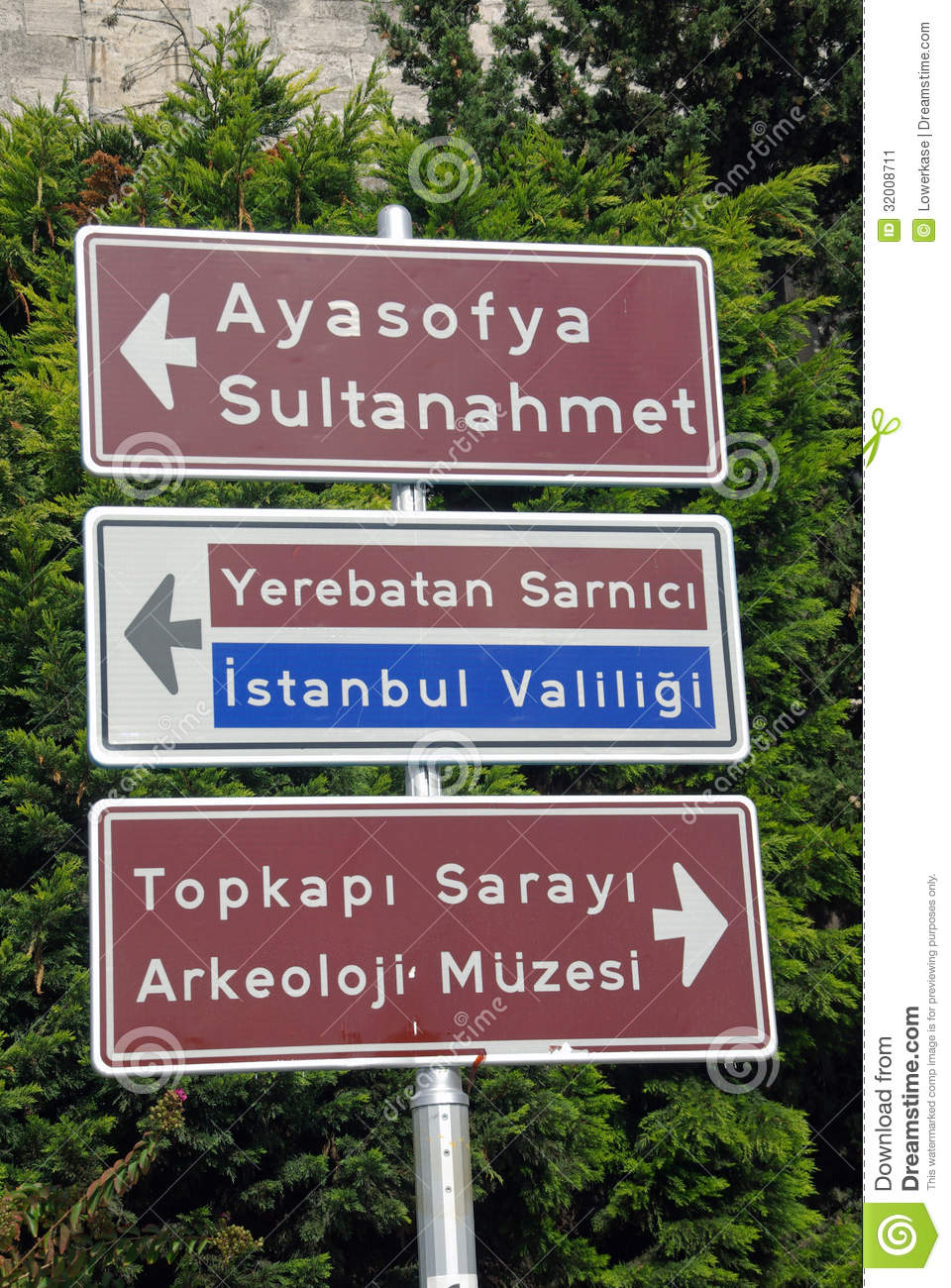 Istanbul Road Traffic Direction Signs Stock Image