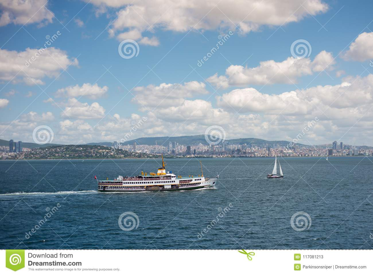 Istanbul Seascape with Ferry and Boat